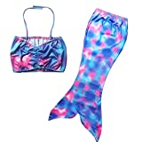 Anbaby 3 Pcs Mermaid Tail for Swimming Girl's Mermaid Bikini Pool Party Swimsuit