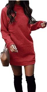 Women's Fleece Long Sweatshirt Dress Crewneck Pullover...