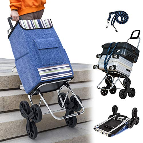 Kanchimi Shopping Cart with Wheels,220 lbs Heavy Duty Cart for Stair Climber Cart,2in1 Foldable Grocery Cart with 50L Shopping Bag,Utility Cart with 360°Rotating Handle&Adjustable Elastic Rope(Blue)