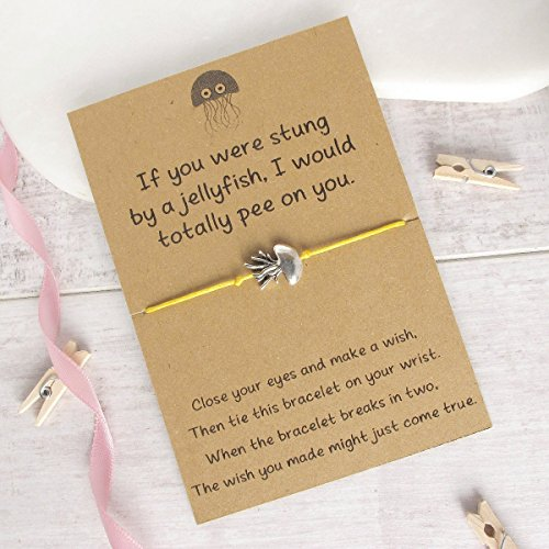 stung by a jellyfish wish bracelet, friendship bracelet, cord bracelet, charm bracelet, friend gift idea, string bracelet, jellyfish jewelry
