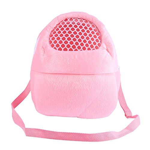 Bolsas de transporte para mascotas Hamster Rata Conejo erizo Saco de dormir Transpirable portátil de salida de viajes Bolsos Mochila con correa de hombro ( Color : Pink )