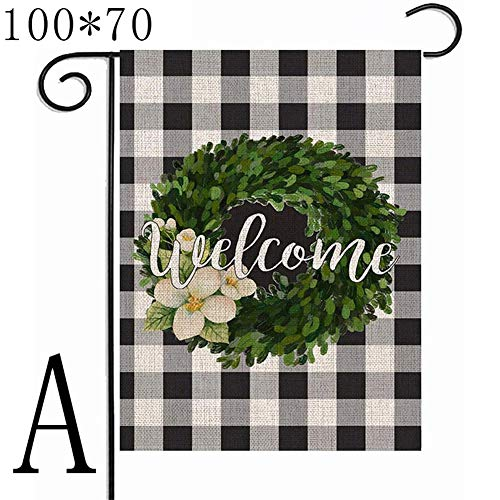 Coomir Welcome House Flag Double Sided Garden Flag Hessian for Outdoor Party Yard Home Decoration, a, 100*70cm