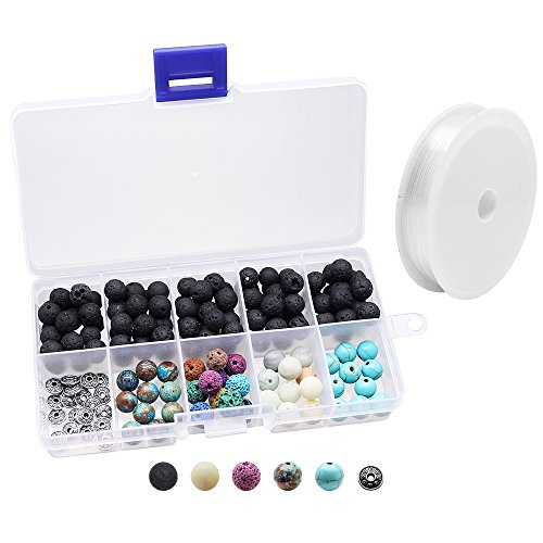 Hysagtek 160 Pcs Lava Stones Rock Beads Energy Stone + Assorted Gemstones Round Loose Beads with Crystal Elastic Cord for Essential Oils Jewelry Making Accessories DIY Bracelet,8mm