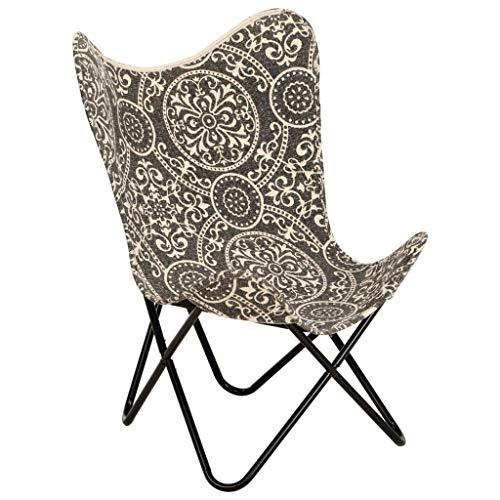 Tidyard Butterfly-Sessel Butterfly-Stuhl Polsterstuhl Ergonomische 74 x 66 x 90 cm,Esszimmerstühle Butterfly Chair Sessel,Canvas (100% Baumwolle)+pulverbeschichteter Stahlrahmen