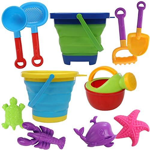 Top Right Toys 11 Piece Beach and Sand Toy Set for Kids - with Collapsible Bucket Pails, Sand Molds, Watering Can, Shovels, Rake and Strainer
