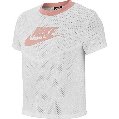 NIKE Camiseta de Malla NSW Hrtg SS para Mujer, Mujer, Camiseta, BV4831, Cuarzo Blanco/Blanco/Rosa, XXL