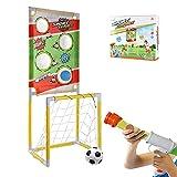 Hangarone Shooting Game Toy Foam Ball Popper Set de juguete con diana de pie 2 en 1 Foam Ball Popper Air Toy Guns con 6 pelotas de espuma, juego de tiro para niños Indoor Play