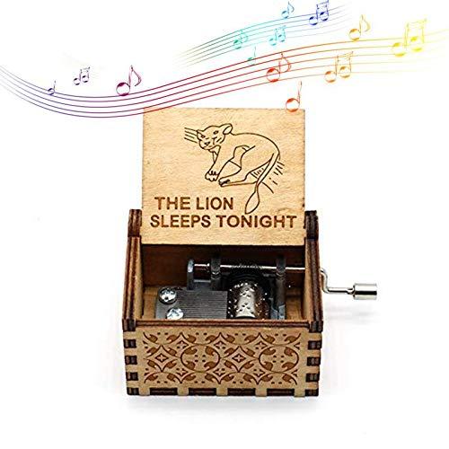 Womdee Music Box The Lion Sleeps Tonight Theme, Manual De Caja De Música Clásica De Madera con Manivela,...