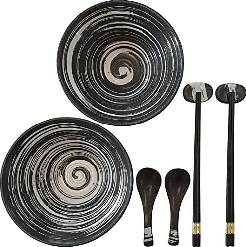 GlücksKompass Japanisches Ramen Schüssel Set aus Keramik (8-tlg), groß: 20 cm Durchmesser | Bowl Suppenschüssel asiatisch Reisschale chinesisch Schale Thai Geschirr Löffel Essstäbchen Stäbchen Harmony