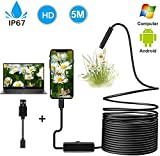 7mm USB Endoscope Inspection Camera 2.0 MP CMOS Snake Camera Borescope 2 in 1...