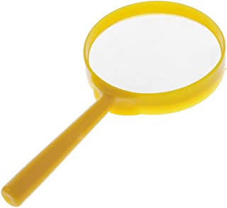 LuDa Kids Handheld Magnifier Magnifying Glass Diameter 60mm Magnifying Triple Magnifier - Yellow, as described