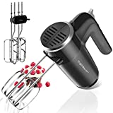 Mixer Electric Handheld, 6 Speed Hand Mixer Electric with Stainless Accessories, Beaters & Dough Hooks, Ultra Power Mixer with Turbo & Easy Eject Button for Whipping, Cream, Cake, Cookies, Black