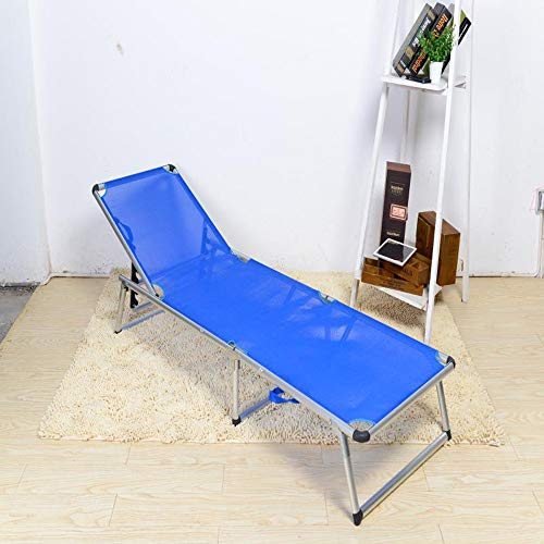 Xiao Long Imple Klappbett Office Lunch Bed Klappbett Verstärkung Doppelbett Campingbett Strandbett Einfache Begleitbett Klappbett (Color : Blue)