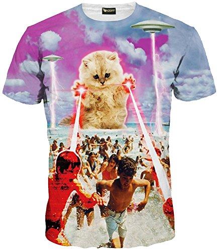 PIZOFF Unisex Digital Print Schmale Passform Katze T Shirts mit Katzen Cat 3D Muster Y1625-48-S-RX