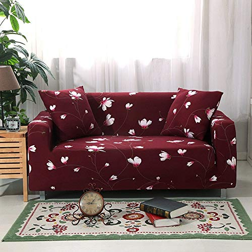 Universal Sofa Slipcover Red Simple Non-Slip Printing Flowers Stretch Couch Covers,Single Double Triple Combination Sofa Cover Ion With Elastic Bottom,Furniture Protector For Kids,Pets,Dogs,Cats ,2