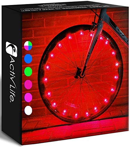 Activ Life Bicycle Tire Lights (1 Wheel, Red) Hot LED Bday Gift Ideas & Presents for Easter - Popular Friday Black and Monday Cyber Special Sale for Him or Her - Men, Women, Kids & Fun Teens