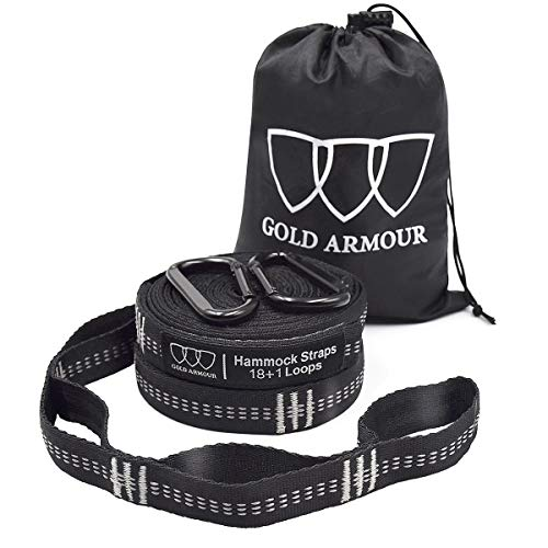 Gold Armour Hammock Straps XL, Camping Hammock Tree Straps Set (2 Straps, 2 Carabiners, Carrying Bag), 20 ft Long Combined, 36 Loops, Must Have Accessories & Gear (Black with Grey Stitching)