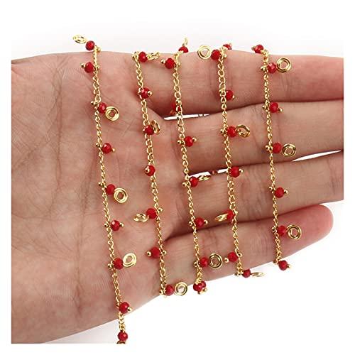 PJ1 1m Color de oro de oro de acero inoxidable estrella de la estrella de cristal de perlas de perlas de perlas para pulseras collar de tobillos de las joyas para hacer accesorios de bricolaje Tl0616