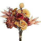 HUAESIN Ramo de Flores Artificiales Vintage, Flores de Otoño Decoracion con Rosa Naranja Hortensia de Seda para Ramo de Boda Banquete Jarrones Jardín Ventana Balcón Decoración Interior Exterior