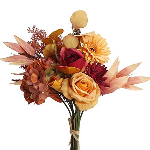 HUAESIN Künstliche Blumen Herbst Kunstblumen Rosen Seidenblumen Hortensie Unechte Herbstblumen für Hochzeit Party Garten Fenster Balkon Indoor Dekoration Outdoor