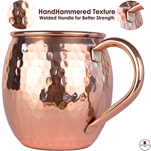 Moscow Mule Copper Mugs Gift Set of 4 - Solid Copper Handcrafted Copper Mugs for Moscow Mule Cocktail - 16 Ounce - Drinking Mug Pure Solid Copper Best Gift for Men and Women - Copper Cups