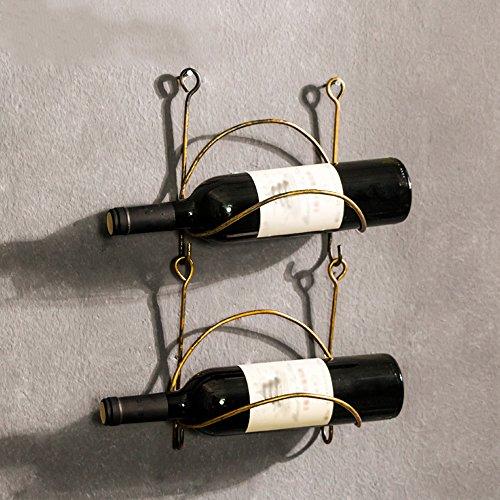 YANGMAN Schmiedeeiserne Wein Regal Wand Einbau Flasche Lager Organisator Rustikale Wohn-Dekor Gebogene Oberfläche (Enthält Keine Weinflaschen),2Racks