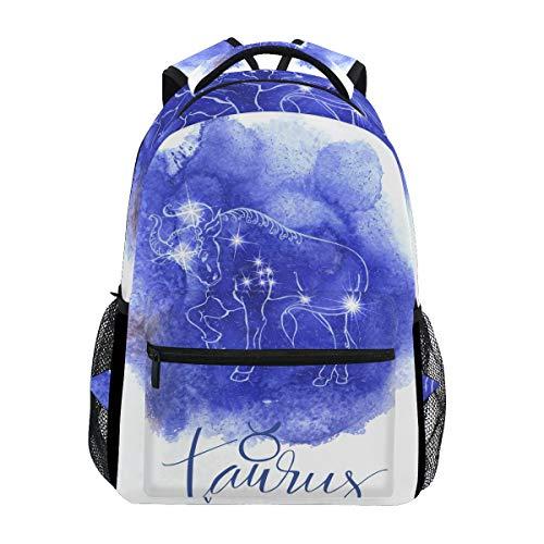 Jeansame Rucksack Schultasche Laptop Reisetaschen für Kinder Jungen Mädchen Damen Herren Astrologie Sterne Sternbild Stier