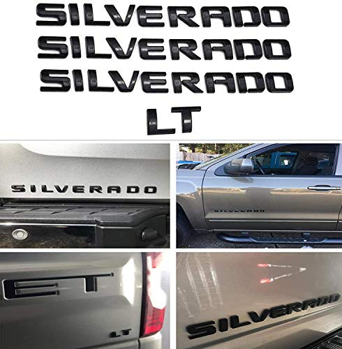 3 Pack silverado emblem Nameplate Plus Lt Letter Emblems 3D Logo Badge Compatible for Silverado 1500 2500Hd 3500Hd