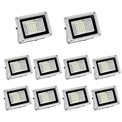 20W 12Volt Led Flood Light, 1400Lm, Super Bright Daylight White, SMD 5370, 6000K Outdoor Security Wash off Road Light Gray Base