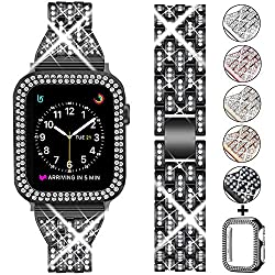 Black +Clear Rhinestone Metal Wristband Strap with Protective Case
