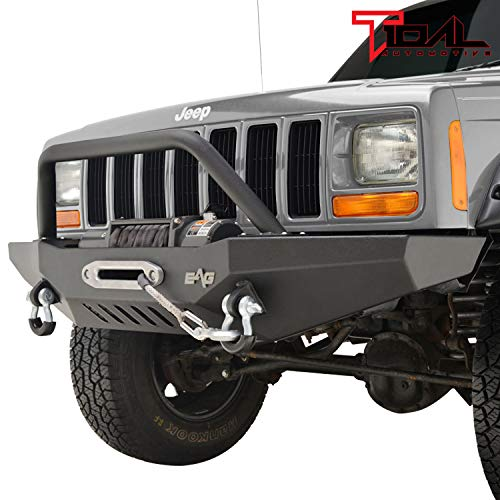 Tidal Front Bumper with Winch Plate and Hoop Fits for 84-01 Cherokee XJ