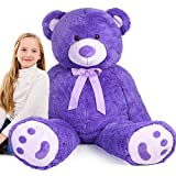 5FT Giant Teddy Bear Stuffed Animal Plush, Soft Cuddly Stuffed Bear, Large Stuffed Animal Plush Toy with Big Footprints, Gifts for Girls, Girlfriend, Kids on Valentine's, Birthday, Xmas, 63in
