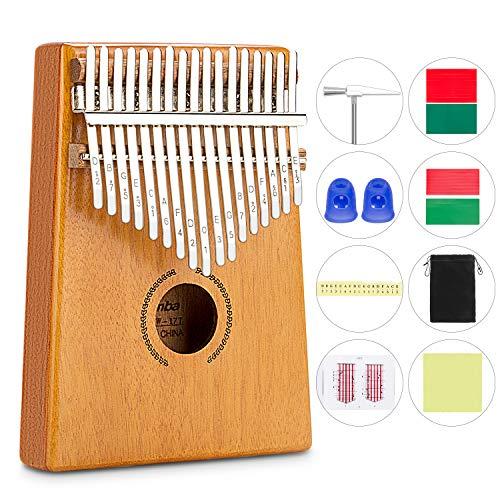 Kalimba 17 Tasti Professionale in Legno di Mogano Pregiato, Mbira Finger Thumb Piano Instrument, Martello Sintonizzatore,Strumenti musicale portatile ed regalo per bambini,adulti e principianti