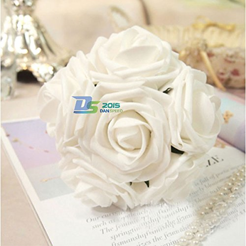 10PC 5.5CM Flores Artificiales Rosas Blanca Decoración