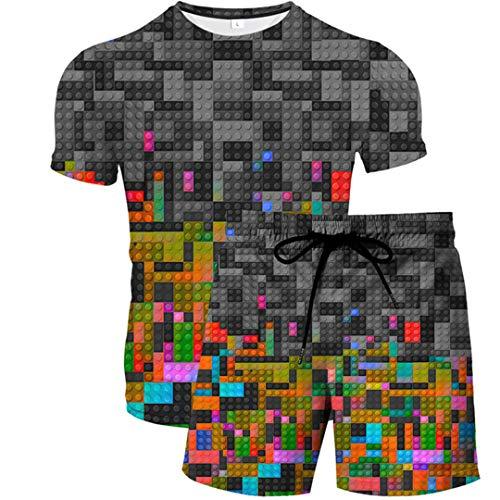 Sommer Herren 3D T-Shirt + Strandhosen Set Mode 3D Druck Baustein Blade Mode Freizeit Sport 2-teiliges Set 1 S