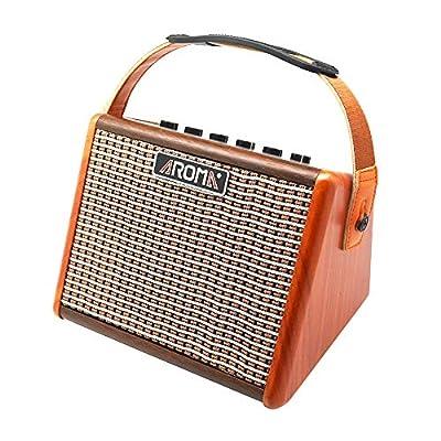 Aroma Guitar Amplifier, 15 Watt Portable Electric Guitar Amp 5 inch Speaker Bluetooth Acoustic Rechargeable Guitar Amplifier
