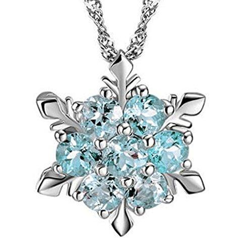 Bobury Pendente di stile del fiocco di neve della collana di cristallo di pietra naturale placcatura d'argento delle donne