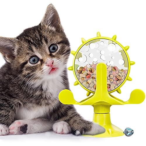 Windmühle Katzenspielzeug, Multifunktionale Rotierende Windmühle Futter Undichtes Spielzeug mit Leistungsstarkem Saugnapf Futterausgabe für Interaktives Haustier Spielzeug in Innenräumen, Gelb