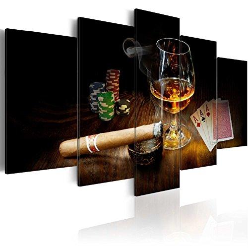 murando - Bilder Alkohol 200x100 cm Vlies Leinwandbild 5 TLG Kunstdruck modern Wandbilder XXL Wanddekoration Design Wand Bild - Alkohol Zigarre Poker Whisky i-A-0101-b-n