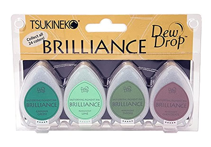 Tsukineko, Brilliance, Dew Drop Ink Pads, 4 pack, Tree House