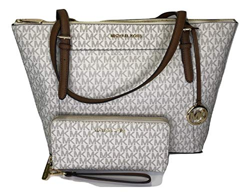Bundle of 2 items: MICHAEL Michael Kors Ciara Large East West TZ Tote bundled with Jet Set Travel Continental Wallet Wristlet Top zip closure, Front slide pocket with magnetic closure, Rear slip pocket, Dual leather straps with approx. 9'' drop Inter...