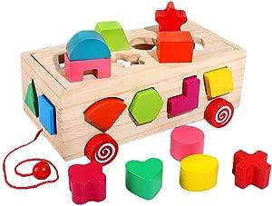 winnerruby Wooden Block Baby Digital Letter Shape Building Blocks Early Childhood Learning Toy Digital Letter Shape Pairing