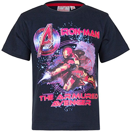4528 Kinder Kurzarm Shirt Marvel Avengers kurzärmliges Kindershirt Jungen (dunkelblau, 98)