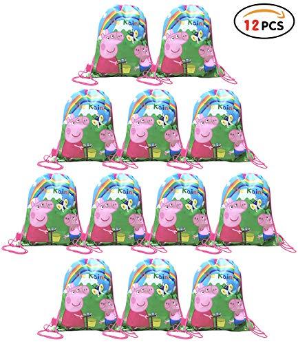 Qemsele Partytüten Mitgebsel Kindergeburtstag Gastgeschenke Tüten Tasche 12 Stück, Kordelzug Rucksack Bag Turnbeutel für Kinder Mädchen Frauen Kindergeburtstag, Geburtstagsfeier (Peppa Pig E)