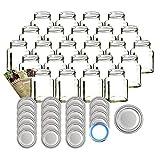 gouveo 24er Set Quadratglas 350 ml mit Verschluss Silber BlueSeal - Marmeladengläser, Vorratsgläser, Wurstgläser, Einmachgläser mit 28-seitiger Flaschendiscount-Rezeptbroschüre -