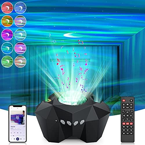 LED Sternenhimmel Projektor, Sternenhimmel Projektor Lampe 3D Aurora Galaxy Projector Nachtlicht mit Bluetooth| Musikspieler| Fernbedienung| Timing-Funktion| 5 Helligkeitsstufen für Erwachsene Kinder