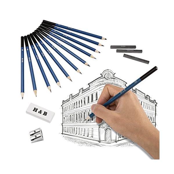 Lapices de Dibujo Artístico, Lypumso Set de Lápices Profesional del Artista y Bosquejo Carbón Grafito Sticks, Lápices de Madera, para Artista Principiante Niños(33 piezas)