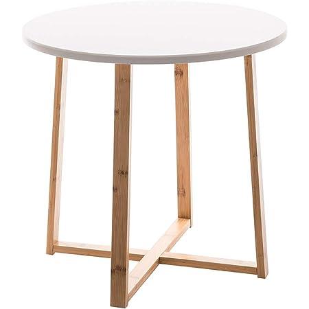 カフェテーブル リビングテーブル 丸型 竹製 コーヒーテーブル 白 ホワイト 軽量 頑丈 北欧 おしゃれ インテリア 組立簡単 直径49.8cm 高さ47.5cm 2年品質保証