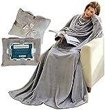 Kuscheldecke mit Ärmeln & Taschen, Geschenke für Frauen, Geburtstagsgeschenke für Mama, Schwester, Fre&in, Einweihungsgeschenke Couch, Fernseher, Sofa-Decke, TV-Decke 150x200 cm (Hellgrau)