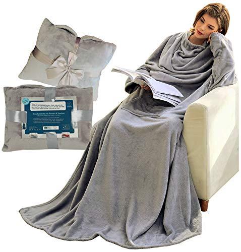 Kuscheldecke mit Ärmeln und Taschen, Geschenke für Frauen, Geburtstagsgeschenke für Mama, Schwester, Freundin, Einweihungsgeschenke Couch, Fernseher, Sofa-Decke, TV-Decke 150x200 cm (Hellgrau)